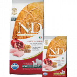 Farmina N&D Low Grain Chicken & Pomegranate Adult Light Mini e Medium Con Pollo e Melograno per Cani di Taglia Piccola e Media Tendenti al Sovrappeso  800gr