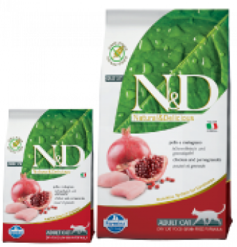 Farmina N&D  Grain free Chicken and Pomegranate Adult Cat Alimento Completo per Gatti Adulti  con Pollo e Melograno 300 gr