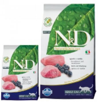 Farmina N&D Low Grain  Adult Cat Lamb and Blueberry  Alimento Completo per Gatti Adulti con Agnello e Mirtilli 300 gr